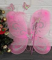 Крылья Бобочки розовые с блестками, фото 1