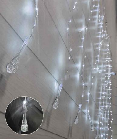Гирлянда Штора-роса з кристаллом внизу 600 л (15 линий), 3 м * 2 м/соединитель, белий