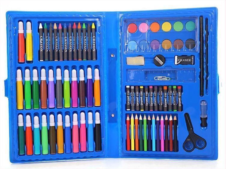 Набор для рисования и творчества в чемоданчике 86 предметов голубой