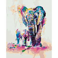 Новогодняя Картина по номерам Священная мудрость 40х50. Идейка (слон и слоненок)
