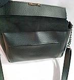 Женский клатч с отделением на клапане из натуральной замши 23*19 см (черный), фото 3