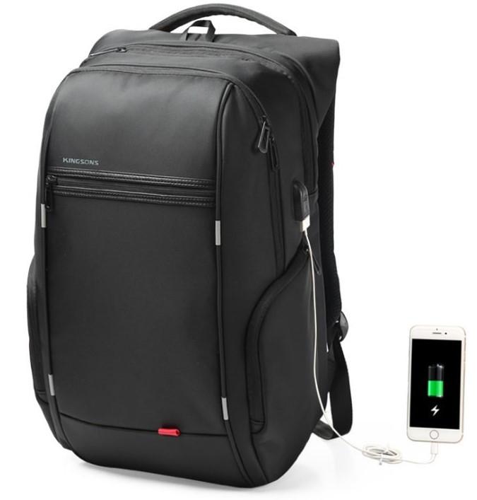 """Рюкзак міський Kingsons KS3140W 17,3"""" з USB-роз'ємом, чорний, 30л"""