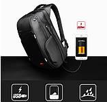 """Рюкзак міський Kingsons KS3140W 17,3"""" з USB-роз'ємом, чорний, 30л, фото 8"""
