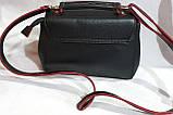 Брендовый женский клатч, сумочка Michael Kors с замшевым клапаном и на молнии 25*18 см (черно-красный), фото 2