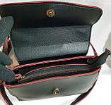 Брендовый женский клатч, сумочка Michael Kors с замшевым клапаном и на молнии 25*18 см (черно-красный), фото 3