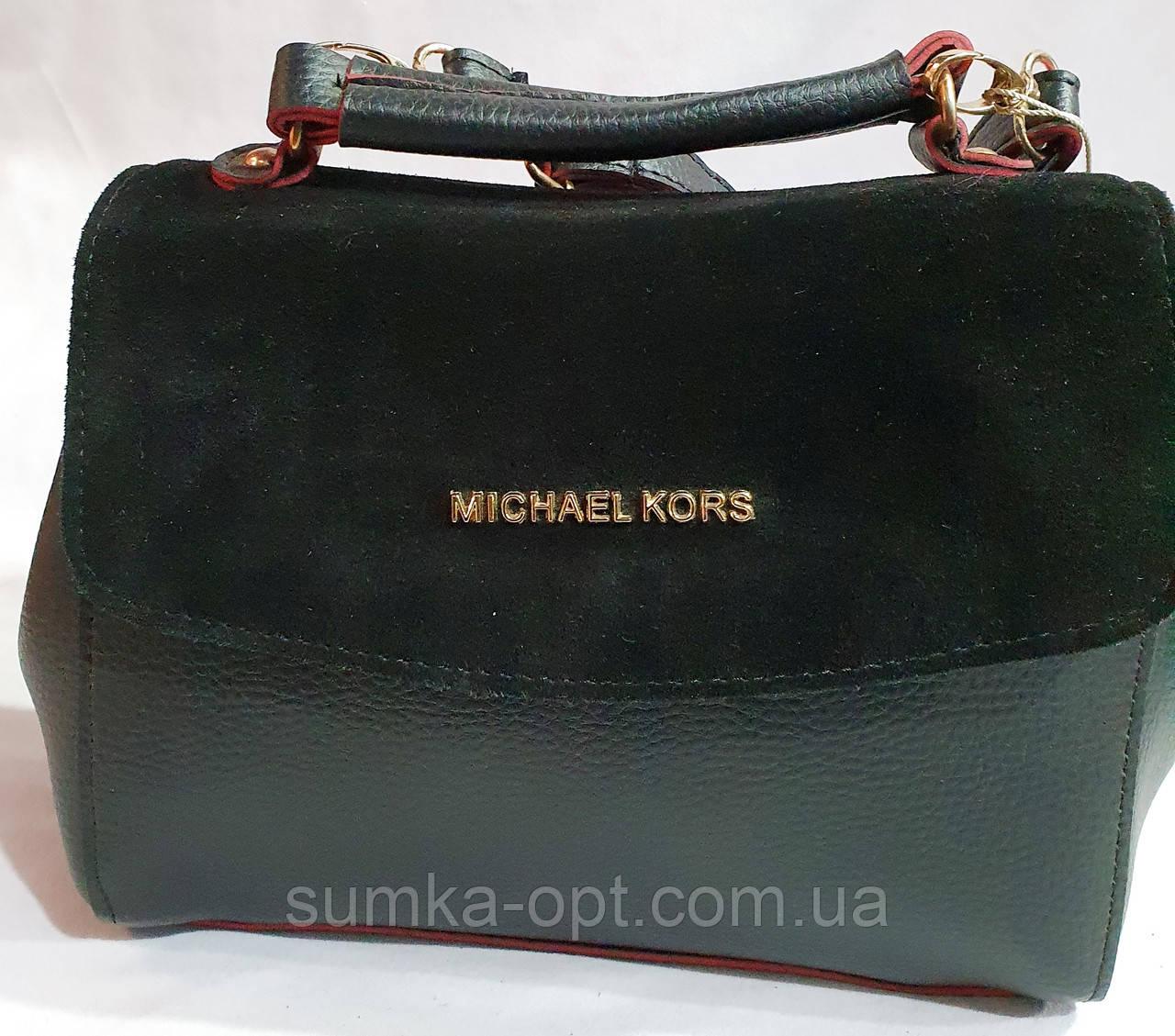 Брендовый женский клатч, сумочка Michael Kors с замшевым клапаном и на молнии 25*18 см (черно-красный)