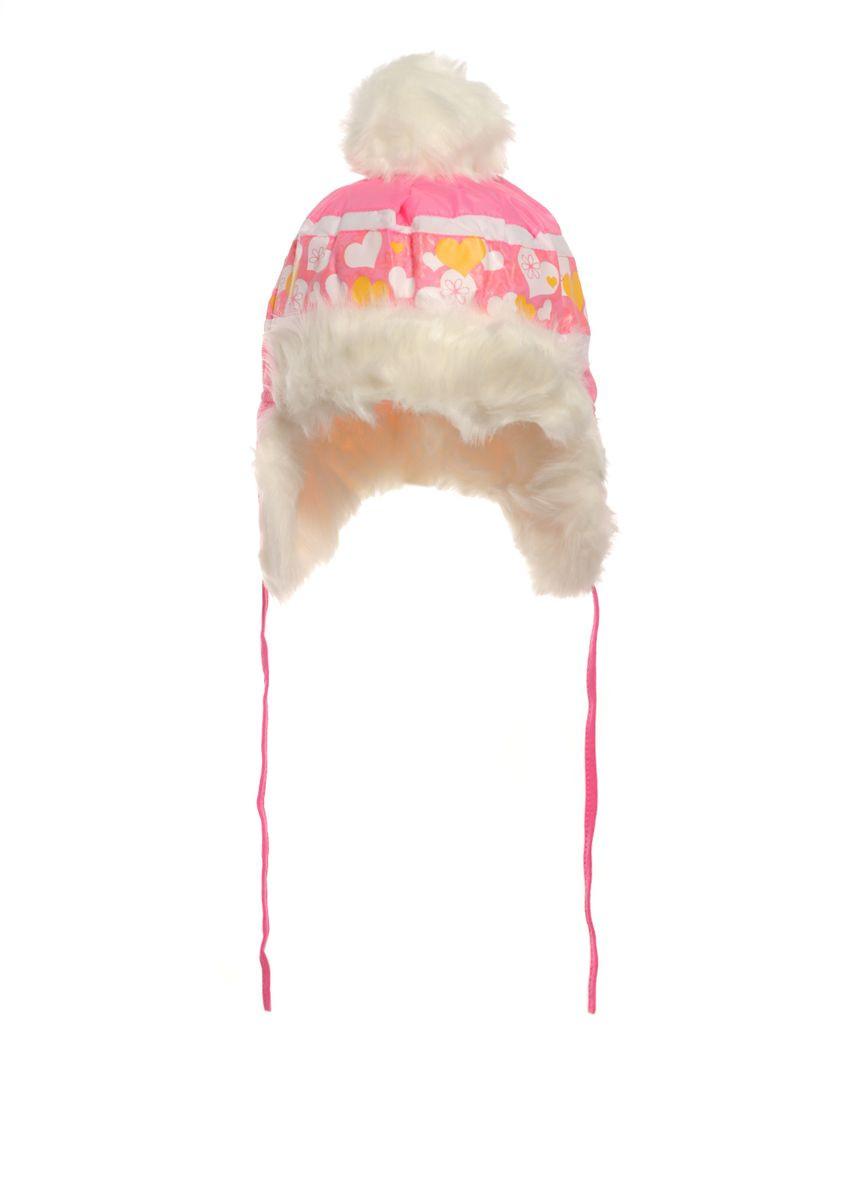 Розовая зимняя шапочка с сердечками на исскуственном меху