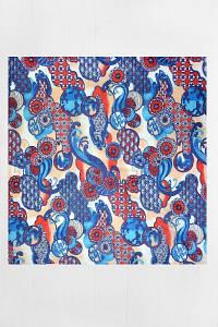 Оригінальна Бандана FAMO Блакитна+вишнева 55*55 #L/A