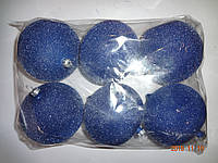 "Игрушка елочная ""Шар синий Бархат"" (диаметр 10 см, упаковка 6 шт)"