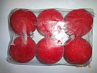 """Игрушка елочная """"Шар красный Бархат"""" (диаметр 10 см, упаковка 6 шт)"""