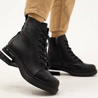 Мега удобные зимние черные женские ботинки натуральная кожа зима 2020-2021