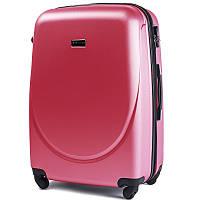 Пластиковый Чемодан на большой дорожный для путешествий Wings smile на 4-х колёсах Розовый