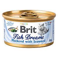 Brit Fish Dreams Mackerel & Seaweed 80 г - влажный корм для кошек (скумбрия/водоросли)