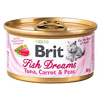 Brit Cat Fish Dreams Tuna, Carrot & Peas 80 г - консервы для кошек (тунец/морковь/горох)