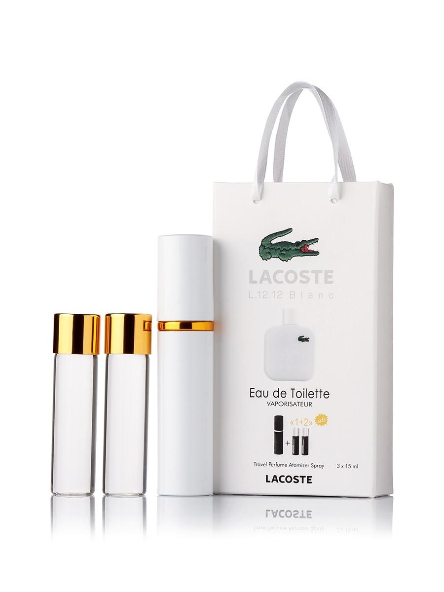 Мини-парфюм Lacoste Eau De L.12.12 Blanc, мужской 3х15 мл