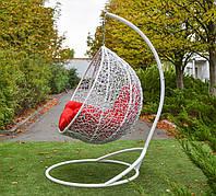 Белое Подвесное кресло кокон с красной подушкой Гарди биг