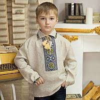 Вышиванка серый лен (ручная робота, 5-12 лет)