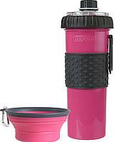 Dx30767 Dexas Бутылка двойная для воды и корма со складной миской 720 мл, зеленая