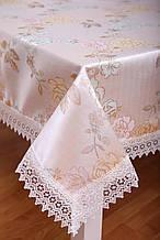 Скатерть на праздничный стол с кружевом 3D 120-152 Розы Розовые Праздничная