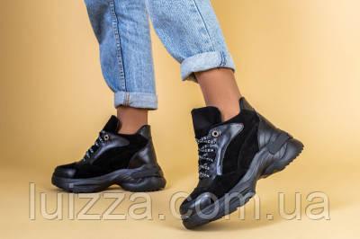Кроссовки женские кожаные черные с вставками замши, зимние, фото 2