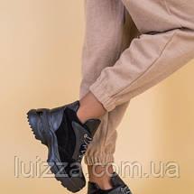 Кроссовки женские кожаные черные с вставками замши, зимние, фото 3