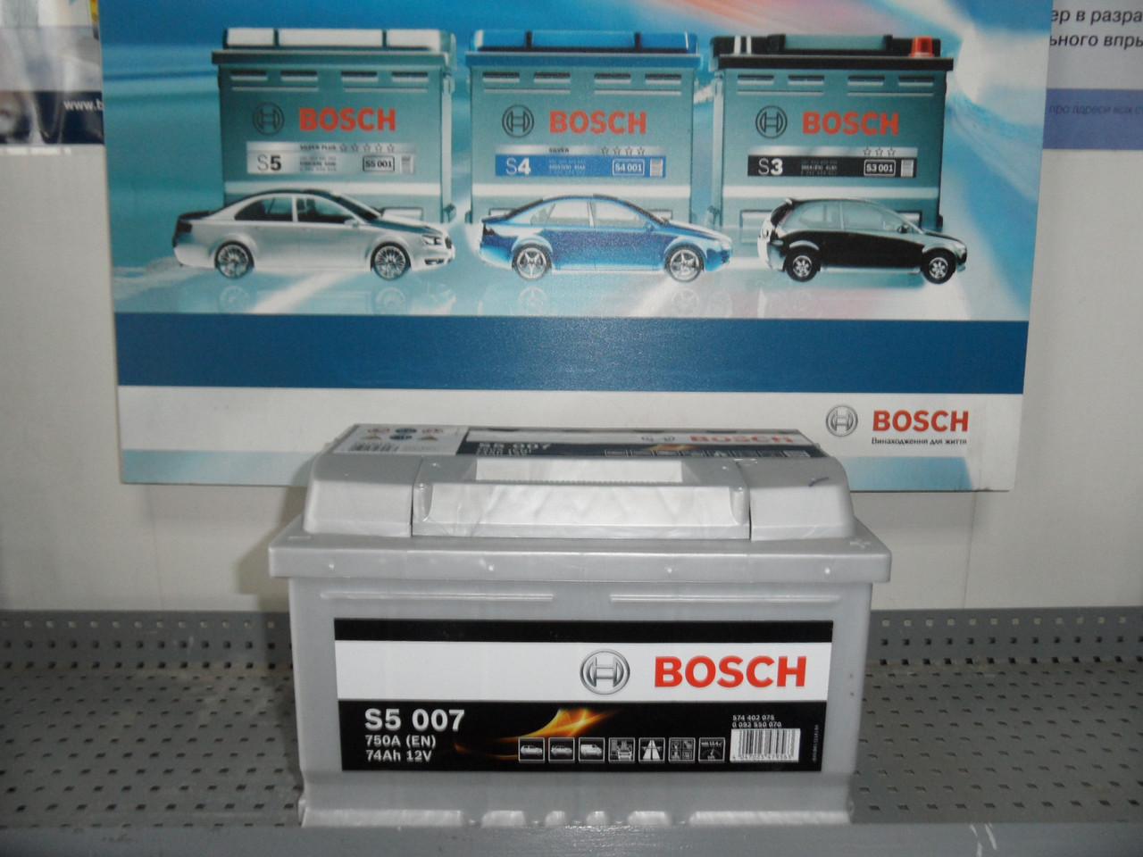 Автомобильный, аккумулятор, BOSCH 0092S50070 74Ah -+, Bosch S50070 Silver 74 Ач, 278х175х175, 750