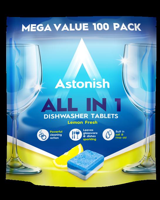 Таблетки для посудомийних машин Astonish All in 1 Lemon fresh 100 шт