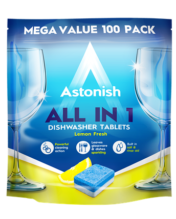 Таблетки для посудомийних машин Astonish All in 1 Lemon fresh 100 шт, фото 2