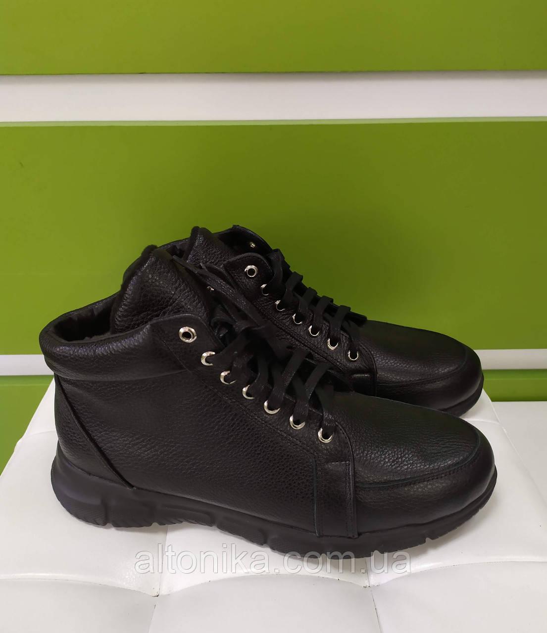 STTOPA деми зима. Размеры 40-44. Ботинки кожаные на широкую ногу больших размеров! С9-58-4044-35-4044 Черные