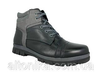STTOPA зима. Размеры 46-49. Ботинки больших размеров из натуральной кожи. БМ1-4649 Черные Серые