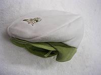 Шапочка-кепка Вязка,трикотаж р.46 Молочная с зеленым