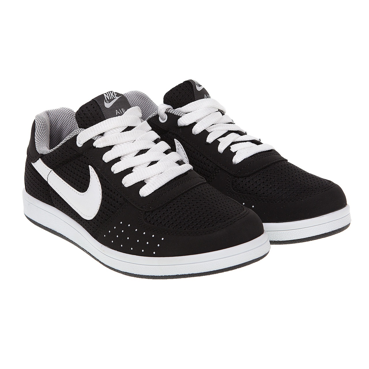 Кросівки чоловічі комфортні чорні з білими шнурівками 40