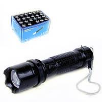 Фонарик №G-2098 пл. чёр. цв. с вер. 1лампа, 12,5 см с батарейками