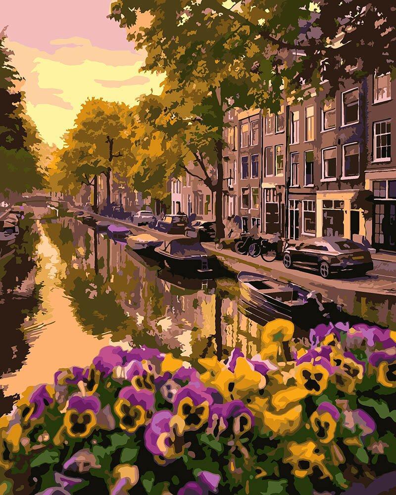 KHO3553 Набор-раскраска по номерам Цветущий Амстердам, Без коробки