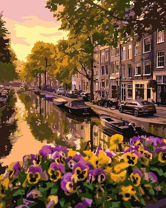 KHO3553 Набор-раскраска по номерам Цветущий Амстердам, Без коробки, фото 2