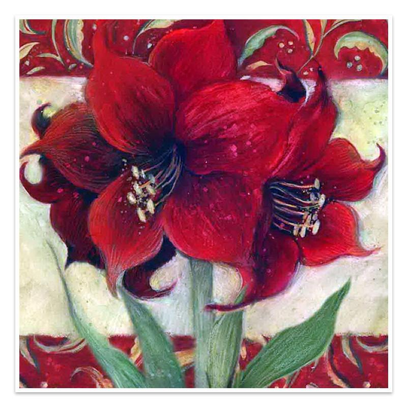 """Алмазная мозаика Lesko DIY LG138 """"Красный цветок"""" 30х30 выкладка стразами на холсте"""