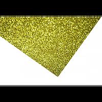 Фоамиран глиттерный на клейкой основе золото