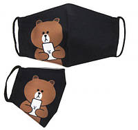 "Многоразовая 4-х слойная защитная маска ""Line Friends: Brown"" размер 3, 7-14 лет, маски защитные,маски,маски"