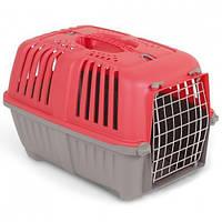 Переноска MPS Pratico 2 для транспортування тварин, з металевими дверцятами, червона, 55×36×36 см