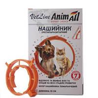 Ошейник противопаразитный AnimAll VetLine для кошек и собак, оранжевый, 35 см