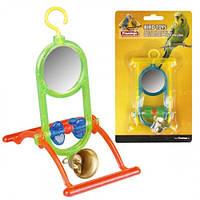 Іграшка Flamingo Mirror Bell для папуг, дзеркало з дзвоником і жердочкой, 12х7х16.5 см