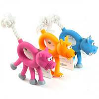 Іграшка Flamingo Animal With Rope для собак, звірок з мотузкою, латекс, 12 см