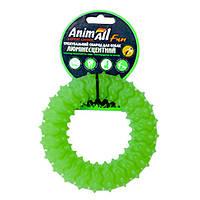 Іграшка AnimAll Fun кільце з шипами для собак, люмінесцентна, 12 см, зелена