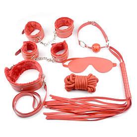Красный кожаный БДСМ набор Госпожи для садо-мазо 7 предметов. Фетиш. классное качество