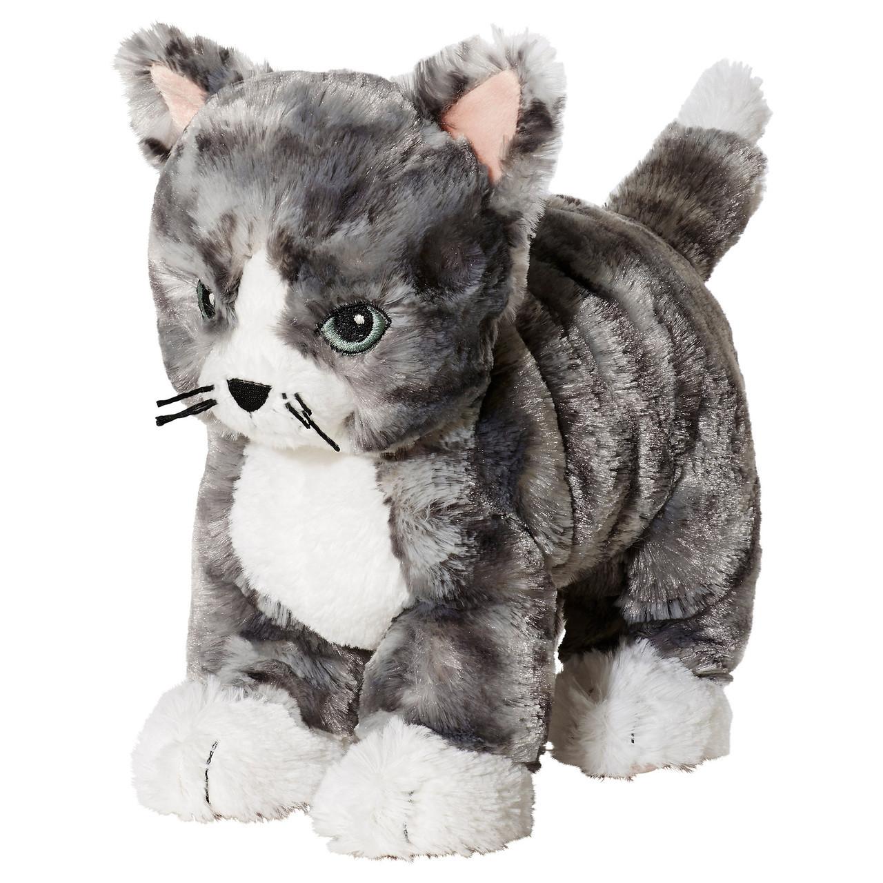 М'яка іграшка кіт IKEA LILLEPLUTT Сіро-білий (002.604.51)