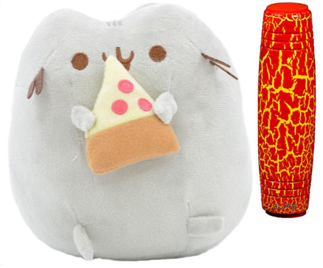 Комплект Мягкая игрушка кот с кусочком пиццы Pusheen cat и Антистресс игрушка Mokuru (n-730)