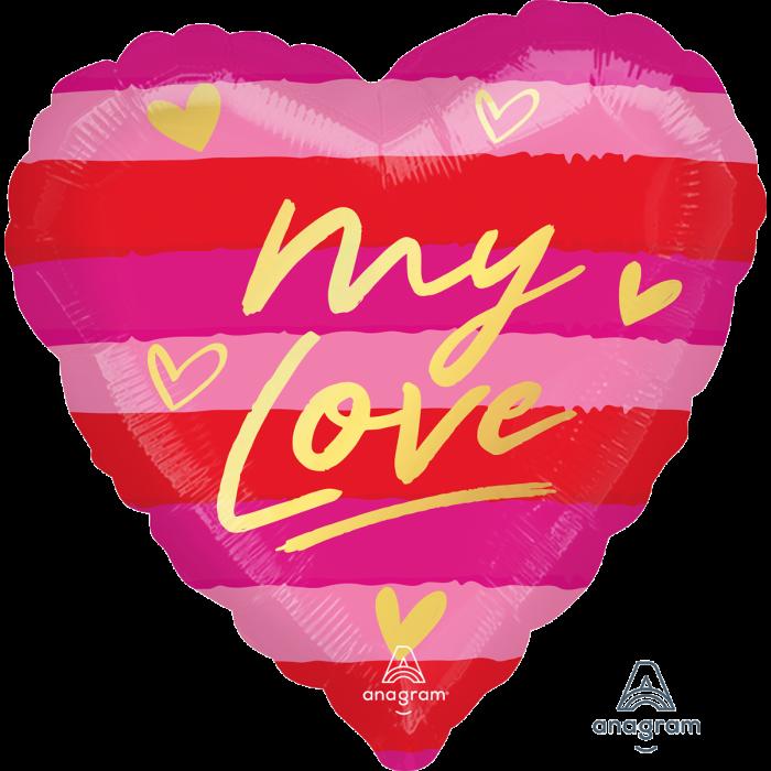 """A 18"""" My Love Pkg. Шар воздушный фольгированный Сердце Моя любовь. В УП"""