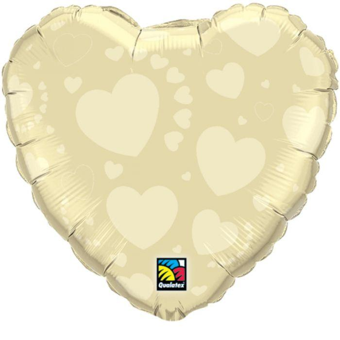 """Q 18"""" Ivory on Ivory Hearts. Шар воздушный фольгированный Сердце. Айвори"""