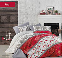 Евро комплект новогоднего постельного белья 200х220 TM BEGENAL постельное к новаму году SANTA 2 TM Турция
