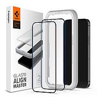 Защитное стекло Spigen для iPhone 12 Mini Glas.tR AlignMaster (2 шт), Black (AGL01812)